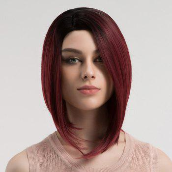 Side Parting Short Straight Bob Ombre Synthetic Wig - DRAK WINE RED OMBRE