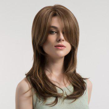 Oblique Bang Long Straight Colormix Synthetic Wig - BROWN AND GOLDEN BROWN/GOLDEN