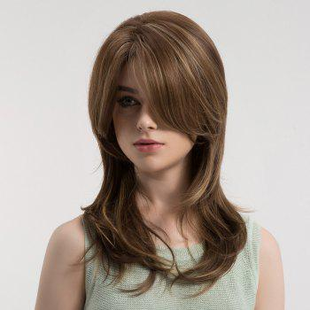 Oblique Bang Long Straight Colormix Synthetic Wig - BROWN/GOLDEN