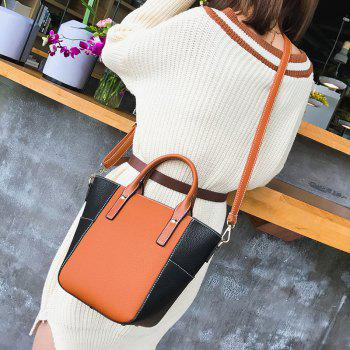 Stitching Contrasting Color Crossbody Bag - BROWN
