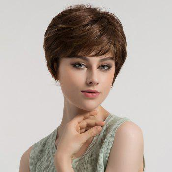 Inclined Bang Short Layered Slightly Curly Synthetic Wig - BROWN AND GOLDEN BROWN/GOLDEN