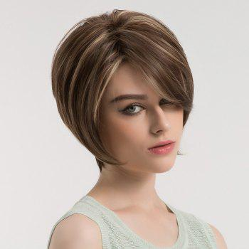 Side Bang Fluffy Short Straight Colormix Synthetic Wig - BROWN / GOLDEN