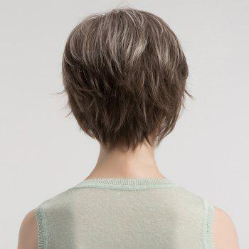 Short Side Bang Fluffy Straight Colormix Syntheitc Wig - GREY WHITE