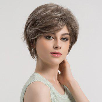 Short Side Bang Fluffy Straight Colormix Syntheitc Wig - GREY WHITE GREY WHITE