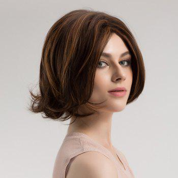 Center Parting Highlighted Slightly Curly Short Bob Synthetic Wig -  BROWN/GOLDEN