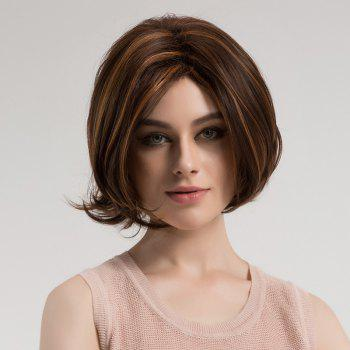 Center Parting Highlighted Slightly Curly Short Bob Synthetic Wig - BROWN AND GOLDEN BROWN/GOLDEN