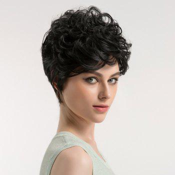 Oblique Bang Shaggy Short Curly Synthetic Wig - BLACK