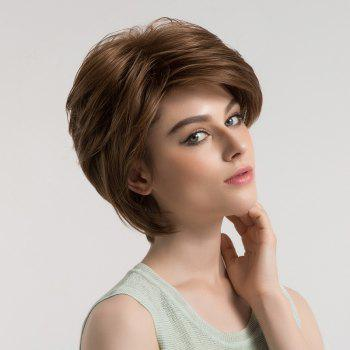 Inclined Bang Fluffy Short Straight Synthetic Wig -  BROWN