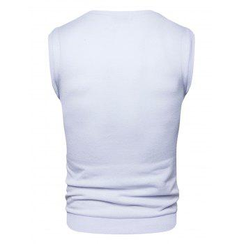 Buttons Design Vest - WHITE WHITE