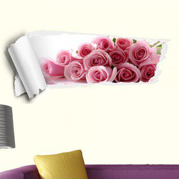 3D Rose Removable Decorative Wall Sticker - PINK