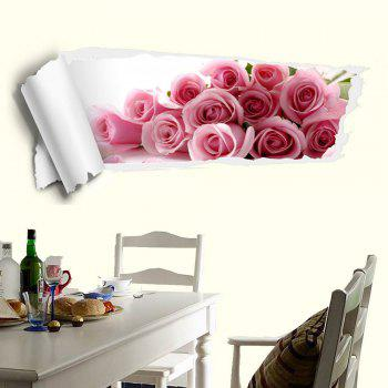 3D Rose Removable Decorative Wall Sticker - PINK PINK