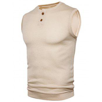 Buttons Design Vest - BEIGE 2XL