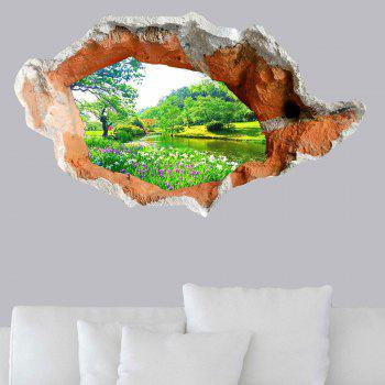 3D Hole Landscape Removable Wall Art Decal -  GREEN