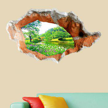 3D Hole Landscape Removable Wall Art Decal - GREEN GREEN