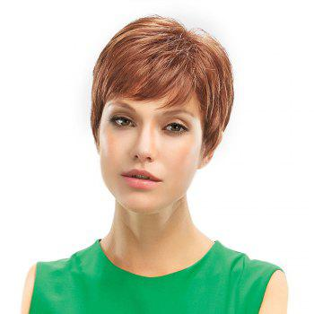 Inclined Bang Fluffy Short Pixie Natural Straight Human Hair Wig - LIGHT BROWN LIGHT BROWN