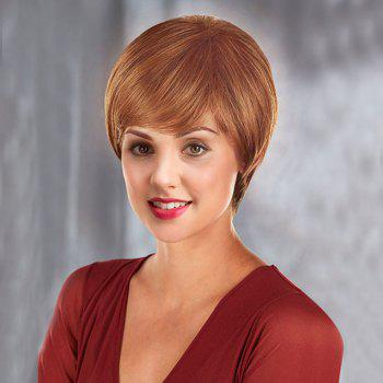 Oblique Fringe Short Straight Human Hair Wig - BROWN BROWN