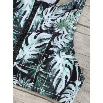 Zip Tropical Leaves Print Bikini Set - COLORMIX L