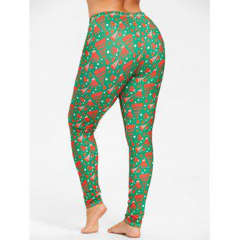 Plus Size Elastic Waist Christmas Printed Pants - GREEN 3XL