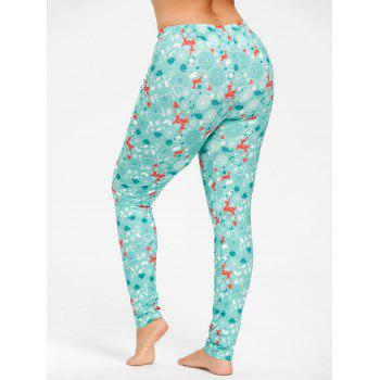 Plus Size Christmas Deer Pattern Pants - XL XL
