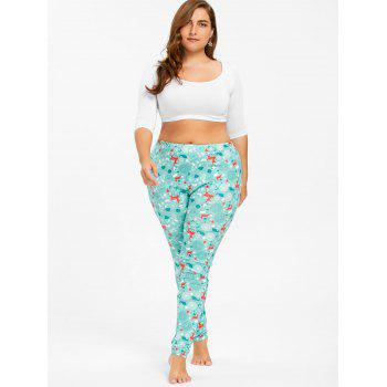 Plus Size Christmas Deer Pattern Pants - CLOUDY XL