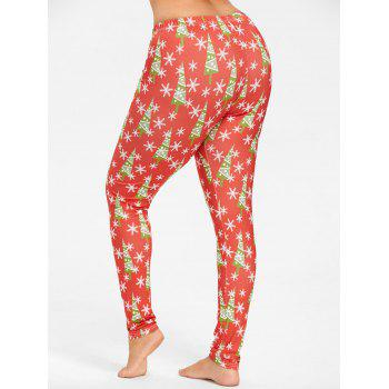 Plus Size Christmas Tree Snowflake Printed Slim Pants - RED XL