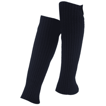 Vintage Striped Pattern Knit Leg Warmers - BLACK