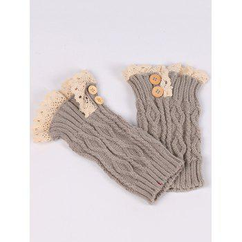 Pair of Button Decorated Lace Edge Knit Leg Warmers - LIGHT GRAY