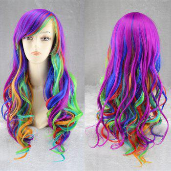 Long Inclined Bang Fluffy Wavy Rainbow Synthetic Cosplay Anime Wig - COLORFUL COLORFUL