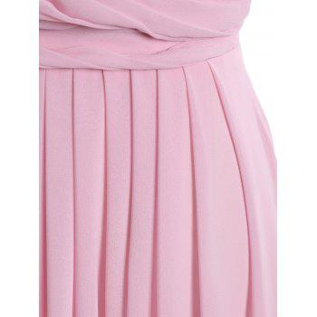 Floral Ruched Maxi Formal Evening Dress - BRIGHT PINK L