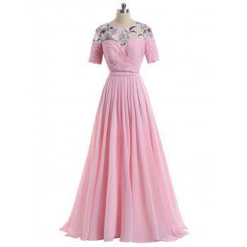 Floral Ruched Maxi Formal Evening Dress - BRIGHT PINK XL