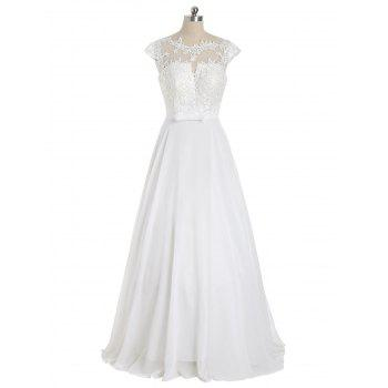 Cap Sleeve Lace Panel Bowknot Evening Dress - WHITE WHITE