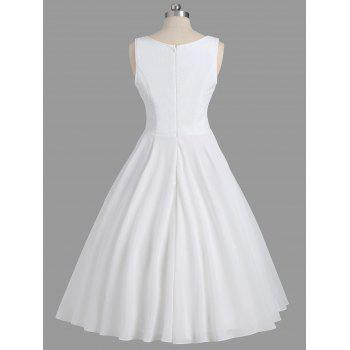 Sleeveless Lace Panel Formal Dress - WHITE 2XL