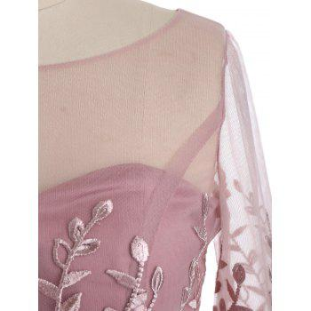 Mesh Yoke Floral Formal Mermaid Dress - PINK 2XL