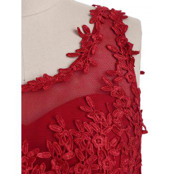 Floral Sleeveless Maxi Formal Evening Dress - RED L