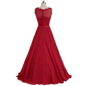 Floral Sleeveless Maxi Formal Evening Dress - RED XL