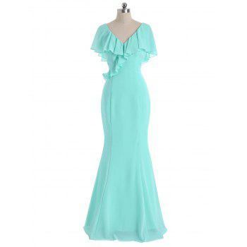 V Neck Flounce Formal Evening Dress - MINT XL