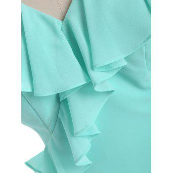 V Neck Flounce Formal Evening Dress - MINT 2XL
