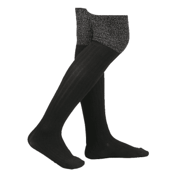 Plain Ribbed Knit Stockings -  BLACK