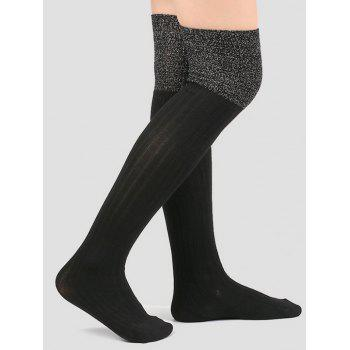 Plain Ribbed Knit Stockings - BLACK BLACK
