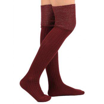 Plain Ribbed Knit Stockings - WINE RED WINE RED
