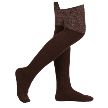 Plain Ribbed Knit Stockings - COFFEE