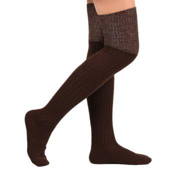 Plain Ribbed Knit Stockings - COFFEE COFFEE