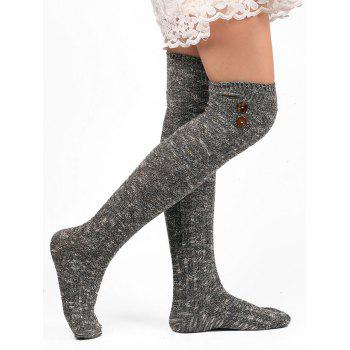 Button Decorated Knitted Stockings - GRAY GRAY