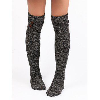 Button Decorated Knitted Stockings -  BLACK