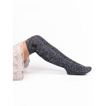 Button Decorated Knitted Stockings - PURPLISH BLUE