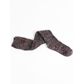 Button Decorated Knitted Stockings -  PURPLE