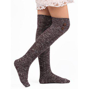 Button Decorated Knitted Stockings - PURPLE PURPLE