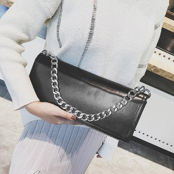 Faux Leather Chain Stitching Crossbody Bag - BLACK