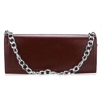 Faux Leather Chain Stitching Crossbody Bag - BROWN BROWN