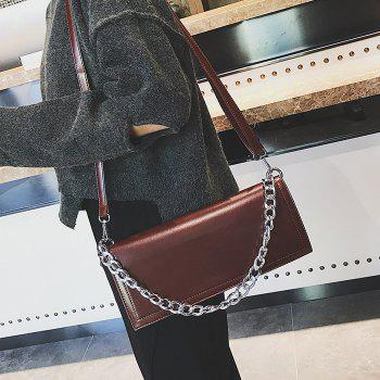 Faux Leather Chain Stitching Crossbody Bag -  BROWN